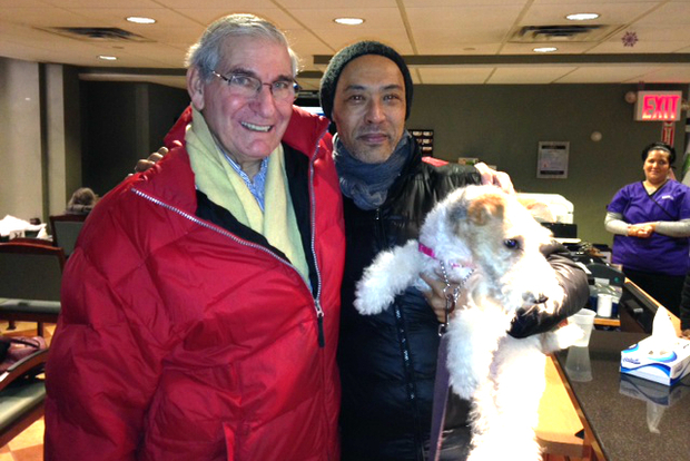 Morris Borock (left), with Orlando Straughter and Fritz the dog.