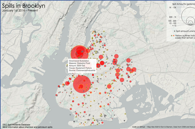 Brooklyn web developer Jill Hubley's toxic spill map shows 491 spills in Brooklyn between January 2014 and today.