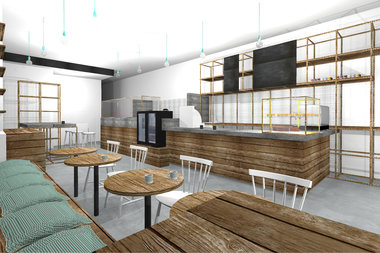 A rendering of Stonefruit Espresso + Kitchen, a new coffee shop slated to open on Bedford Avenue in April. The spot will host a variety of educational events and classes to promote