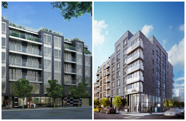 Two new condo buildings are set to rise in Hunters Point. Left: a rendering of Liv@ Murray Park, planned for 11-35 45th Ave. Right: a rendering of The Corner, which is being built at 47-28 11th St.