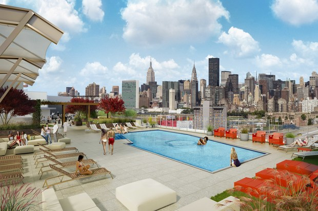 Get a 2k studio with rooftop pool access in queens plaza for Garden city pool 2015