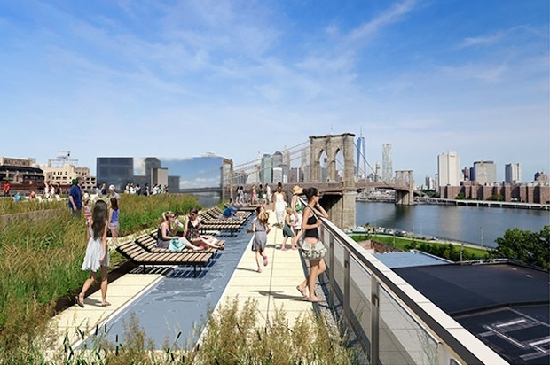 Roof deck of dumbo luxury apartments designed by high line for 22 river terrace nyc