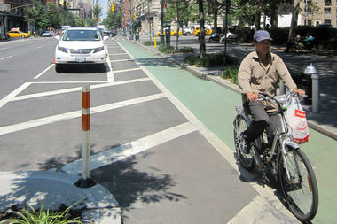 Councilman Mark Levine is calling for a protected bike lane along Amsterdam Avenue, like the one pictured here along Columbus Avenue.
