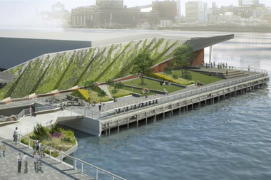 A rendering of a new park that will be built on Pier 35 near Rutgers Slip.