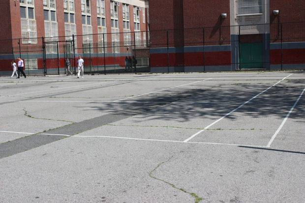 Desolate playground at south bronx school to get new for Cheapest way to make a basketball court