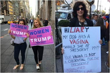 'Women for Trump' Group Cheers Sign Comparing Hillary ...
