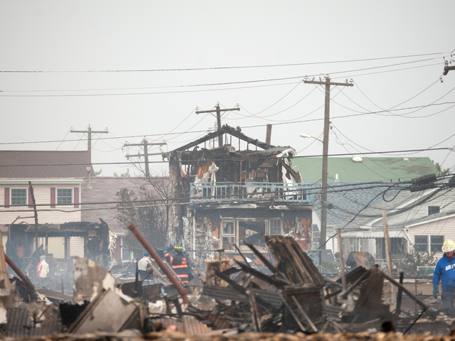 <p>Many houses were destroyed or heavily damaged along Stehn Promenade in the Rockaways, including more than 100 that burnt to the ground.</p>