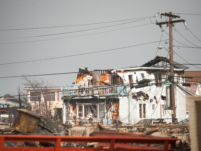 <p>Many houses were destroyed or heavily damaged along Stehn Promenade, including more than 100 that burned to the ground. Photos taken Tuesday Oct. 30, 2012.</p>