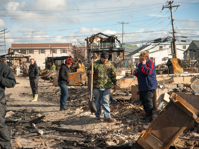 <p>Jerry Dwyer found his shovel remarkably untouched by the fire in the rubble of his familys&#39; home on Fulton Walk on Wednesday October 31st, 2012.</p>