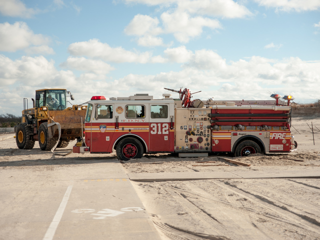 <p>Engine Company 312 became stuck in the sand off Stehn Promenade on Wednesday October 31st, 2012.</p>