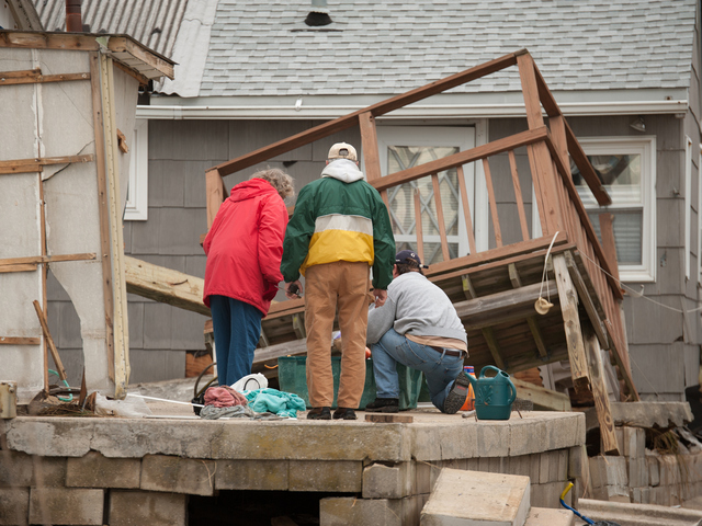 <p>Residents begin to repair their damaged homes on Wednesday October 31st, 2012.</p>