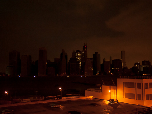 <p>The darkened skyline of lower Manhattan is seen here in the wake of Hurricane Sandy Tuesday, Oct. 30, 2012.</p>