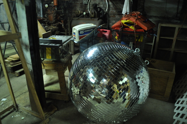 <p>Robert Boyd&#39;s disco ball remained in tact for the most part, despite the ruin of most of his other art pieces.</p>