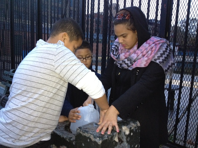 <p>Avenue D resident Giselle Leonardo, 17, and her two brothers got water from a water fountain for drinking, washing and flushing the toilet in their Jacob Riis housing apartment after Hurricane Sandy Oct. 30, 2012.</p>