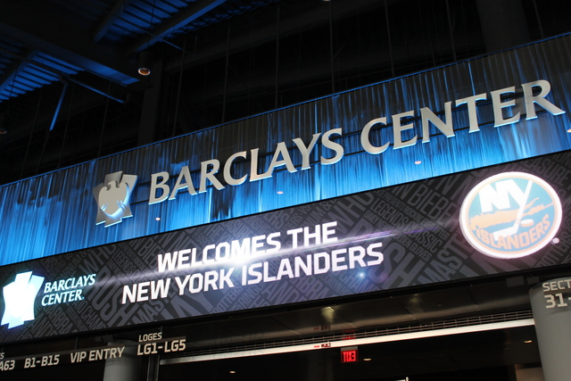 <p>A digital billboard at the Barclays Center welcomed the New York Islanders. The NHL team announced a 25-year deal to move to the downtown Brooklyn arena starting with the 2015 season.</p>