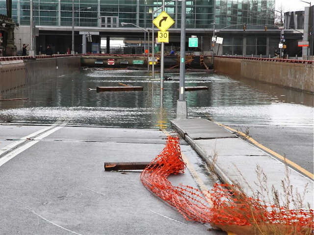 <p>The Battery Park Underpass was completely flooded as the MTA resumed cleanup efforts on October 31, 2012 in the wake of Hurricane Sandy.</p>