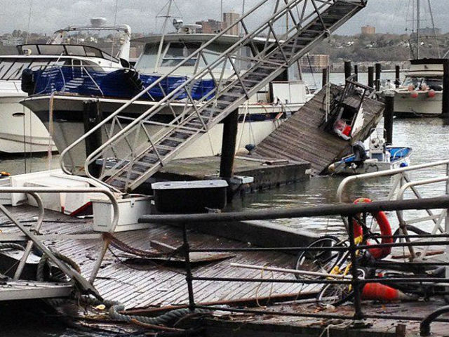 <p>According to Upper West Side resident Ken Biberaj, the boats at the 79th Street Boat Basin survived, but the docks were roughed up by the storm.&nbsp;</p>