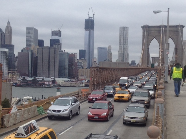 <p>Brooklyn Bridge was filled with cars on October 28, 2012, after Mayor Bloomberg issued an evacuation warning for some areas.</p>