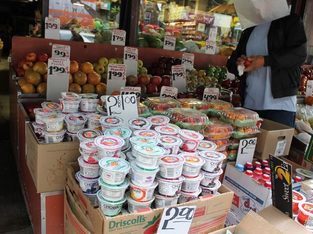 <p>Several stores were selling their dairy at reduced prices in Brighton Beach after the Hurricane.</p>