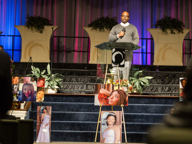 <p>Corey Abraham, the brother of Lauren Abraham, remembers his sister at the funeral service held on Nov. 8, 2012.</p>