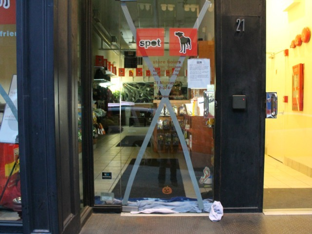 <p>Spot pet store in Lower Manhattan tried to prepare for the storm<br /> 	by taping its front glass door and stuffing towels underneath it to<br /> 	try to prevent flooding.</p>