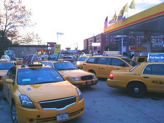 <p>A DNAinfo reporter is denied access to a Shell gas station selling fuel to only yellow cabs on Northern Blvd., in Queens on Nov. 9, 2012.</p>