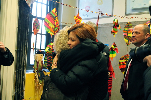 <p>Christine Quinn visits public schools in the aftermath of Hurricane Sandy.</p>