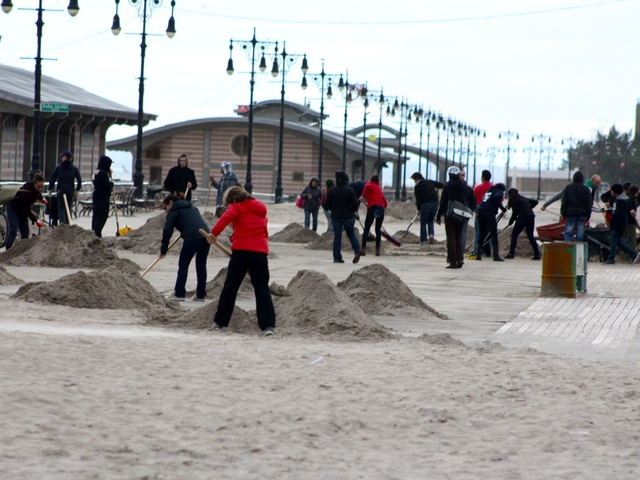 <p>Volunteer clean-up crews helped in Coney Island after Hurricane Sandy.</p>