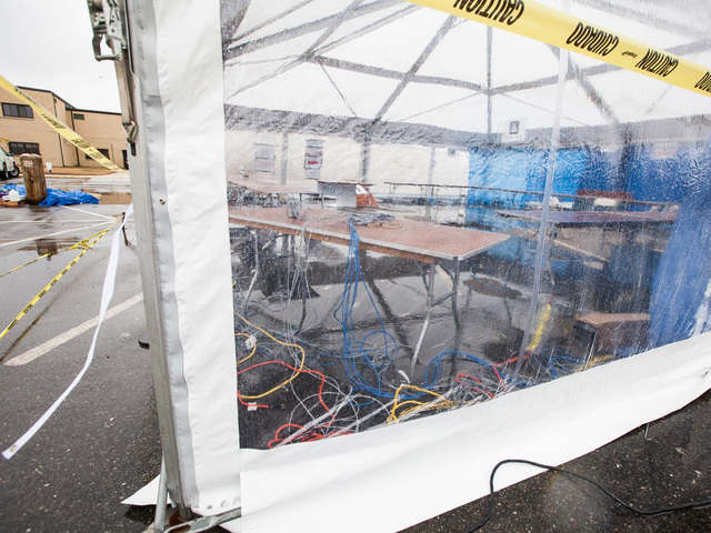 <p>An empty desk and abandoned equipment in the closed FEMA Disaster Recovery Center in Fort Tilden on Nov. 7th, 2012.</p>