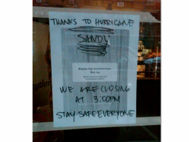 <p>A Starbucks on the Upper East Side shuttered its doors early Sunday ahead of the storm.</p>