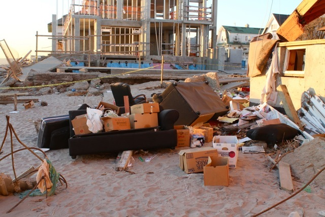 <p>November 6, 2012 - Couches and living room furniture were found on the beach in Sea Gate.</p>