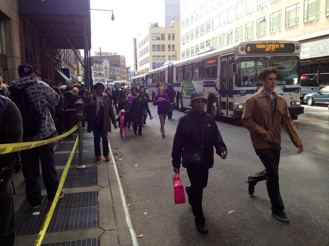 <p>Commuters waited in line for hours for a bus on Jay Street on November 1, 2012, three days after Hurricane Sandy wreaked havoc on the city&#39;s public transportation system.</p>