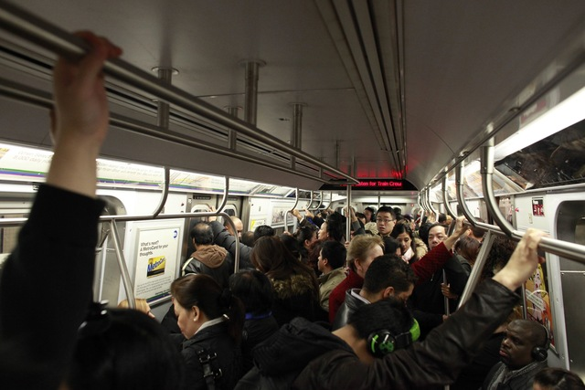 <p>Commuters packed subway trains across New York City Monday morning, Nov. 5, 2012, one week after Hurricane Sandy crippled the region&#39;s transit system.</p>