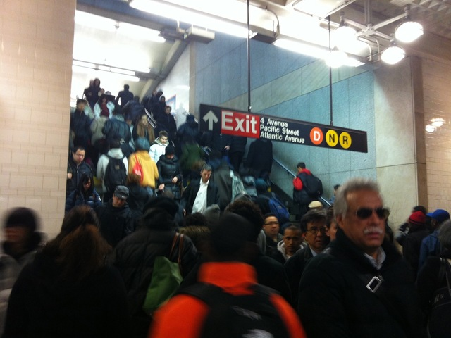 <p>Commuters packed subway platforms, buses and roads early Monday morning, Nov. 5, 2012, one week after Hurricane Sandy hobbled New York City&#39;s transit system.</p>