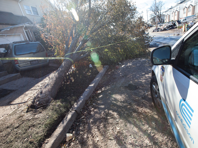 <p>Con Edison responded to a Sanitation Department worker who was shocked by a downed wire in New Dorp Beach Nov. 4, 2012.</p>