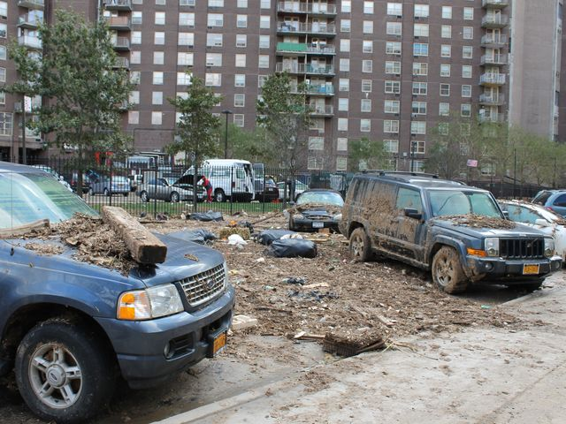 <p>Destruction on the streets of Coney Island after Hurricane Sandy.</p>