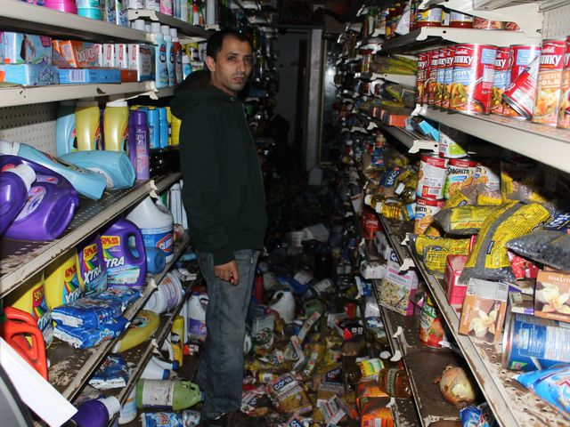 <p>A bodega at Coney Island was devastated by Hurricane Sandy.</p>