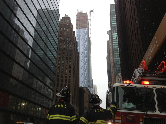 <p>Officials were working to assess the situation after a crane collapsed in Midtown Manhattan on Monday, Oct. 29, 2012.</p>