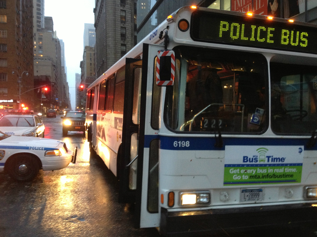 <p>Police on the scene of the crane collapse in Midtown Manhattan on Monday, Oct. 29, 2012, said MTA buses were waiting to evacuate those on West 57th Street between Sixth and Seventh avenues.</p>