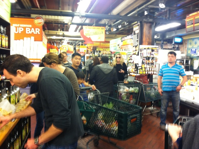 <p>Customers waited in line at Fairway in Brooklyn, on October 27, 2012.</p>