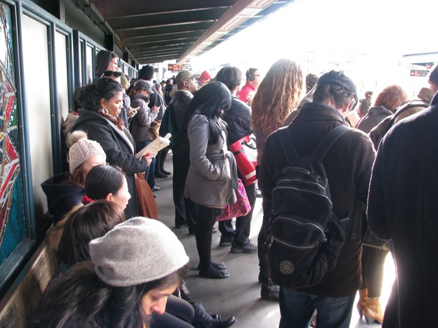 <p>A commuter wait on a crowded subway platform Monday morning, Nov. 5, 2012, one week after Hurricane Sandy crippled the region&#39;s mass transit system.</p>