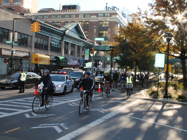 <p>Many decided to bicycle near the Queensboro Plaza on November 1, 2012 due to overcrowding on the city&#39;s functioning buses and subways.</p>