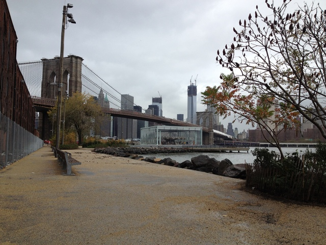 <p>October 30, 2012 - The water receded back into the river near Jane&#39;s Carousel.</p>