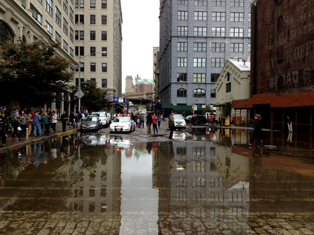 <p>October 30, 2012 - Main Street in DUMBO was still underwater Tuesday morning.</p>