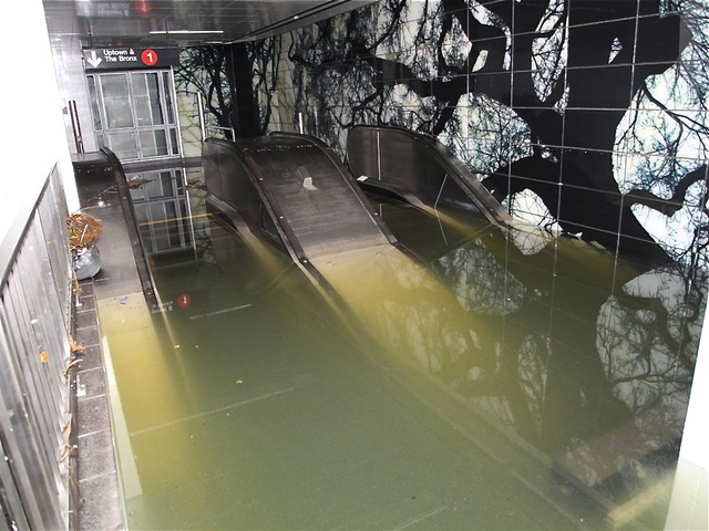 <p>The escalator was completely under water at the South Ferry station as the MTA struggled to clean up the havoc wreaked by Hurricane Sandy. The city announced that limited lines would resume service on November 1, 2012.</p>