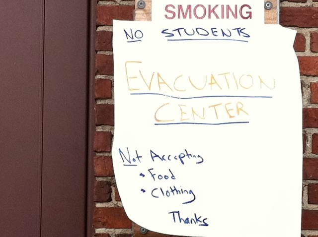 <p>A sign outside the George Washington High School evacuation shelter warned students not to enter.</p>