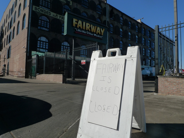 <p>A sign warned that Fairway was &quot;closed closed&quot; in Red Hook after the store was devastated by Hurricane Sandy. &#39;Everything was absolutely gutted,&#39; Fairway vice chairman Howard Glickberg told DNAinfo.com New York. &#39;There was absolutely nothing left in the old store.&#39; The store is slated to reopen March 1.</p>