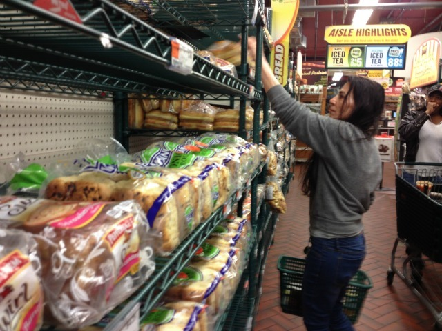 <p>Shoppers stocked up on last-minute supplies at the Fairway in Red Hook, Brooklyn Sunday.</p>