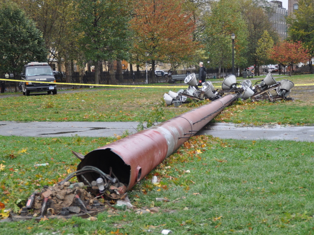 <p>A field light at McCarren Park was toppled over in the center of the park on Oct. 30, 2012.</p>