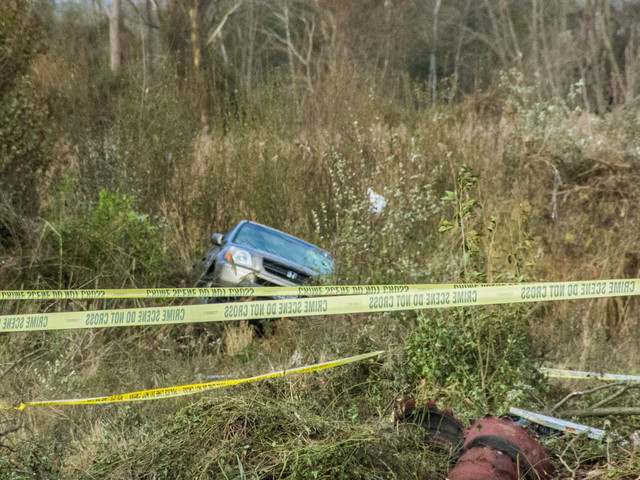 <p>A car washed into the marsh on Father Capodanno marsh, where cops searched for two missing boys after Hurricane Sandy, Oct. 31, 2012.</p>